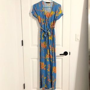 Olivaceous Blue Tropical Prints Wrapped Dress